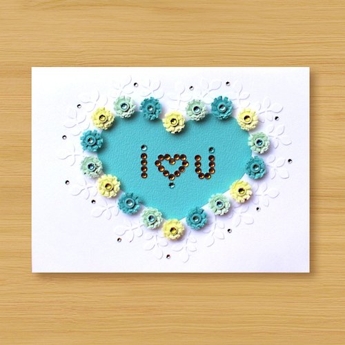Hand roll card: love pattern I Love You_B (mother card, lover card, wedding greeting card)