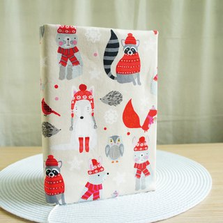 Lovely American cotton cloth [double-sided cloth book clothing animal Christmas] cloth book cover 15X21cm, A5 hand account