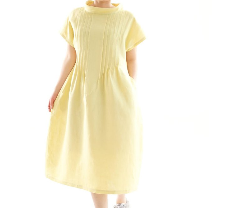 Linen / linen dress / midi dress/ pin tuck / loose fitted dress / yellow / a81-1