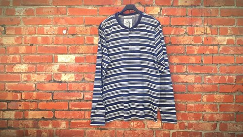 AMIN'S SHINY WORLD Featured WASHED Dyed Navy Blue and White Striped Henry Long Sleeve Top