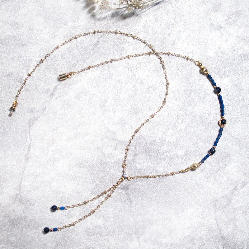 VIIART. Renaissance - Blue. Lapis lazuli blue sandstone 18K thick gold-plated sweater chain Y-shaped necklace