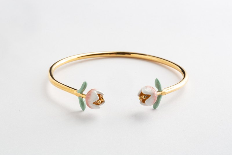 Pink tulip bracelet ~ inner diameter 5.8 cm, suitable for hand circumference 6 cm