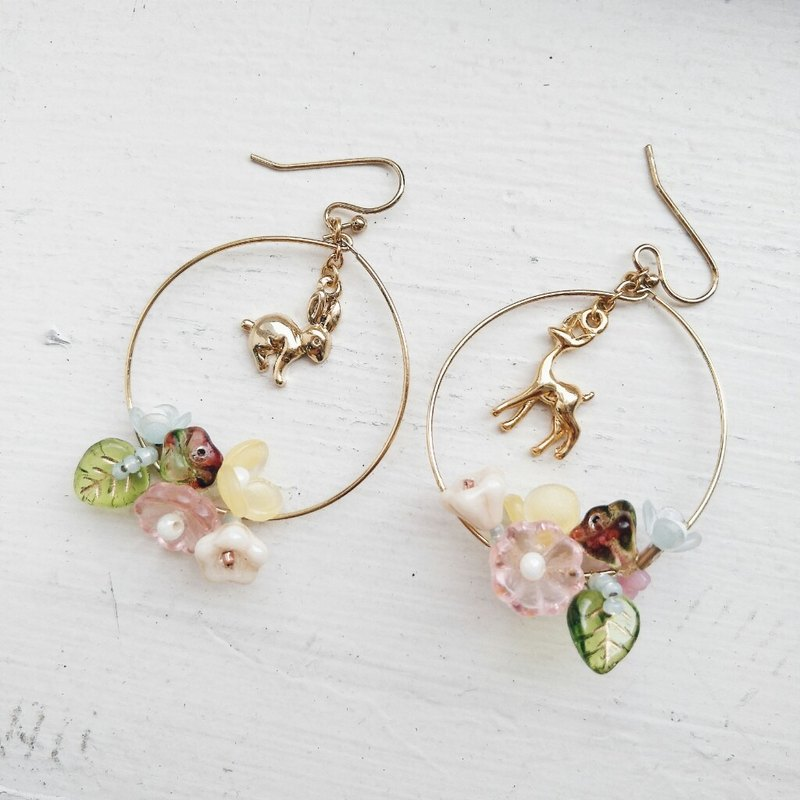 momolico earrings rabbit flowers deer (can change the clip)