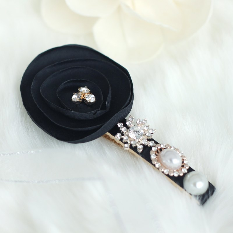 Ribbon flower with pearl and rhinestones hair clip