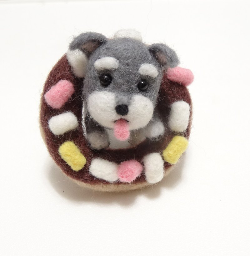 Schnauzer and Donuts - Wool felt  (key ring or Decoration)