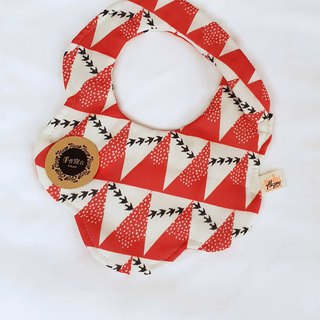 Gujia Yuezi designer cloth - rice white brick red - eight layers of yarn 100% cotton shape bib. saliva towel