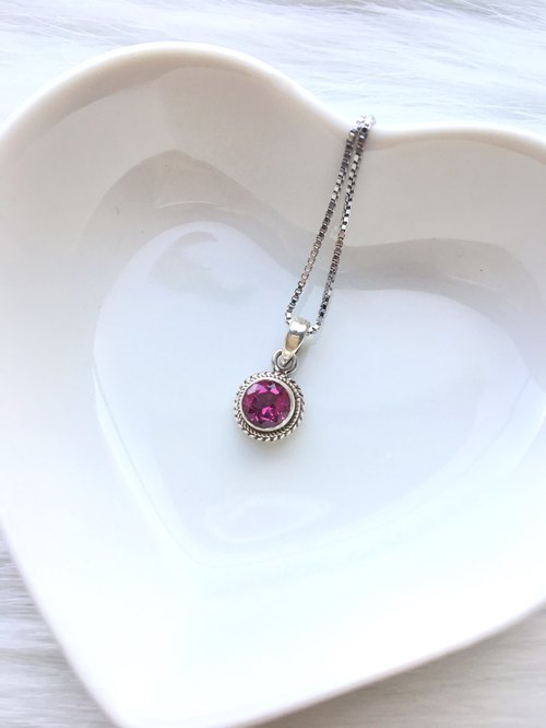 Pink topaz 925 sterling silver round simple striped necklace