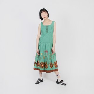 [Egg Plant Vintage] Wizard of Oz Embroidered Cotton Sleeveless Vintage Dress