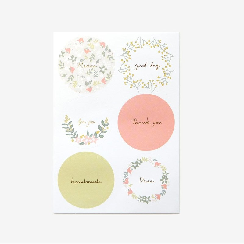 Round message sticker -06 pink wreath, E2D00144