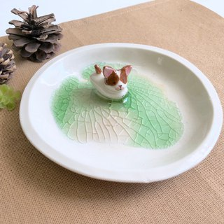 Little Chihuahua -Handmake Ceramic and glass Jewellery plate