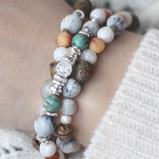 Hawthorn. Shenjing Suishan Stone Natural Ore Bodhi Pure Silver Rosary White Agate Grass Bodhi Turquoise