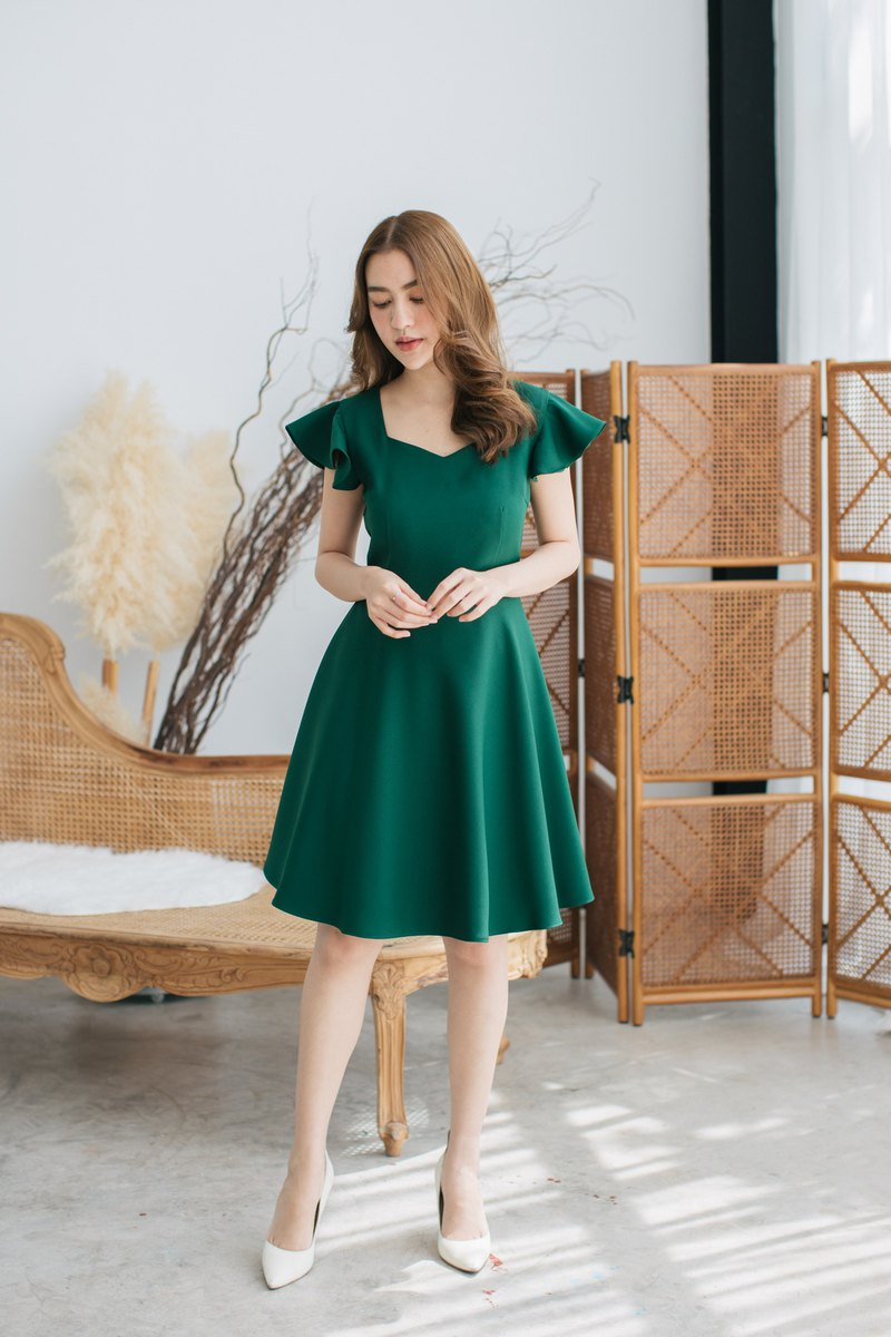 Green Evening Dress Ruffle Sleeve Dress Green Dress Green Party Dress Vintage