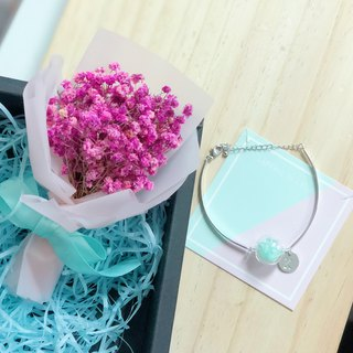Preserved flower glass ball bracelet personalized Box set Mint Green