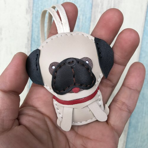 Leatherprince handmade leather Taiwan MIT beige cute pug dog hand-stitched leather strap small size small size