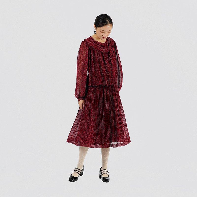 【蛋植物古著】紅彩飛花紗質印花古著洋裝