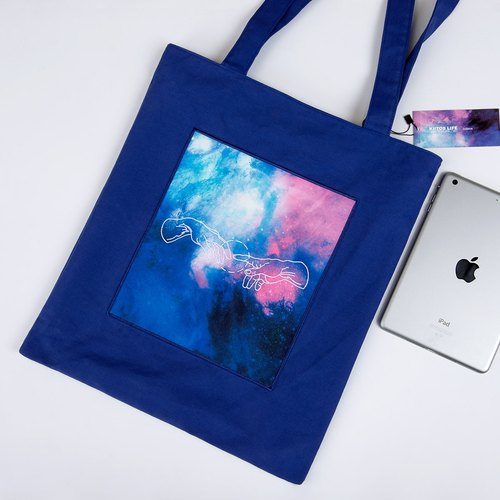 KIITOS I WANT TO universe theme cotton original embroidery printed shoulder bag - hand of Genesis God