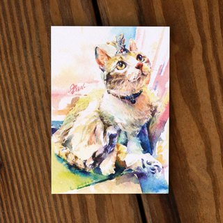Watercolor painted hair boy series postcard - Princess gave a smile