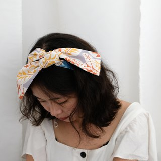 Free post blue dyed remix print hair band orange leaves spell blue dyed grid blue dyed hair with tie bag decoration