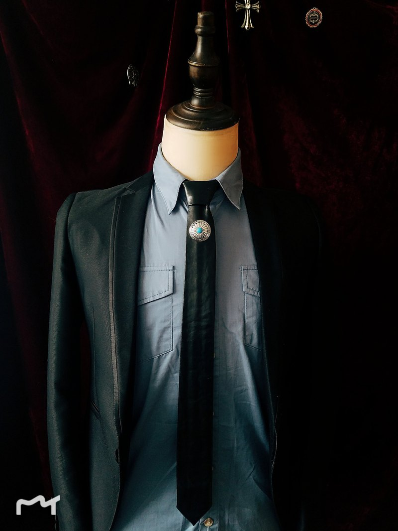 Black leather Turquoise tie type black tie for men