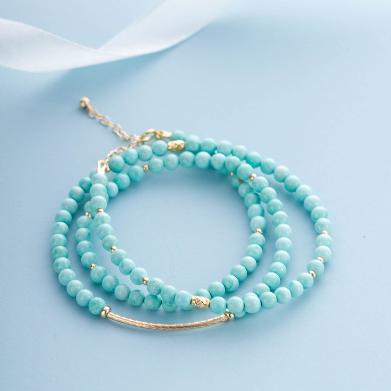 Turquoise, 14K Gold Filled Natural Gemstone Crystal Stack Bracelet