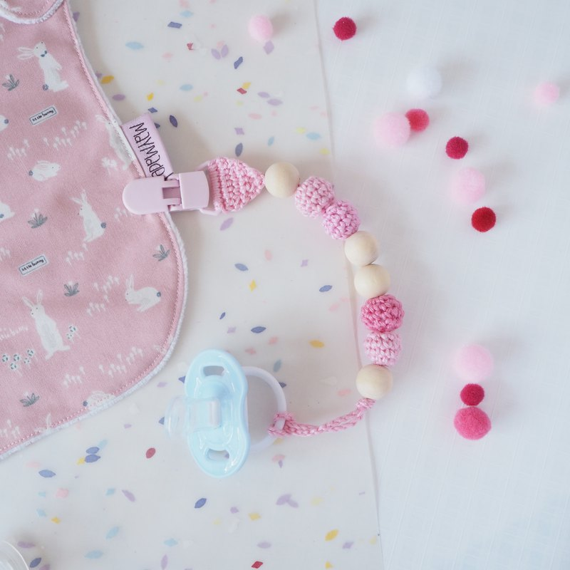 Birthstone Color Crochet Pacifier Clips - October Opal Pink