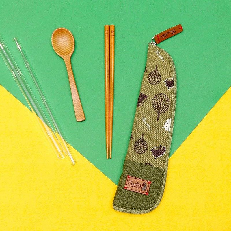 獨創布花 棉麻餐具袋::抹茶綠:: (叢林躲貓貓)環保餐具/減塑/防疫/交換禮物