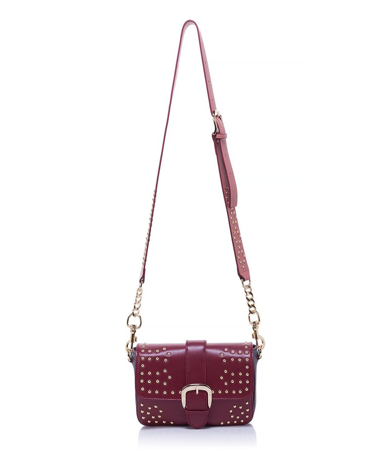 Leather Studded Crossbody— Wine + grey