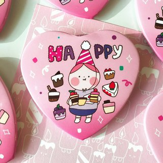 Happy heart pin button