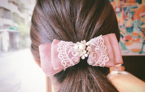 [First love cherry powder lace French folder] handmade hair bow hair clip
