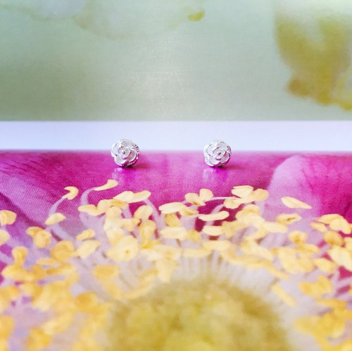 925 sterling silver flower series rose ear acupuncture