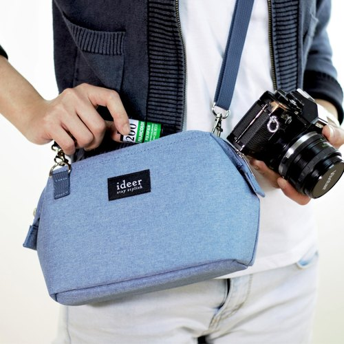 CARO simple blue backpack bag dual side single micro camera bag