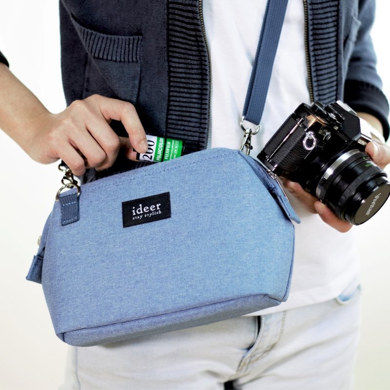 CARO simple blue side backpack in the package dual-use micro single camera bag