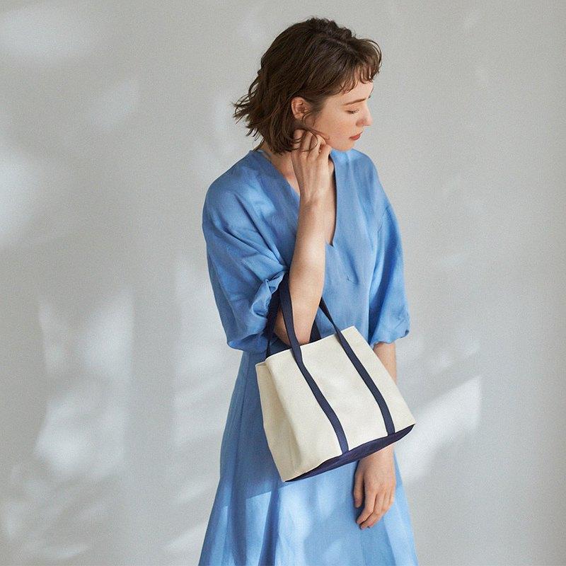 Nora 帆布 2way 手提包 +媽媽包內袋【白藍】