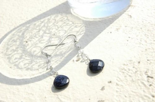 Blue Sand Stone and double point crystal earrings