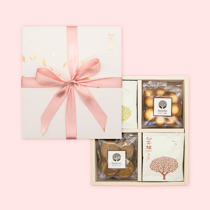 Four-grain gift box, sweet and handmade biscuit tea bag group