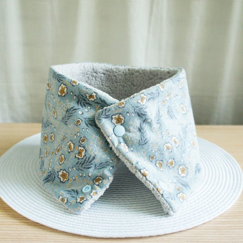 Lovely [Japanese cloth] flower and leaf brush lamb cashmere collar, collar, short scarf, gray blue gray