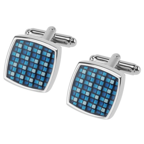 Blue Checker Enamel Cufflinks