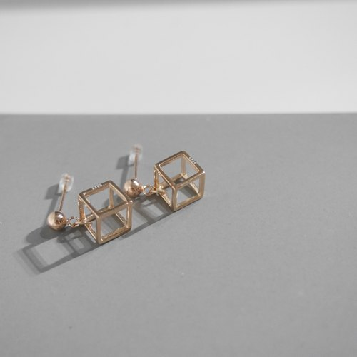 18K Rose Gold Cubic Cube Earrings Valentine's Day Gift
