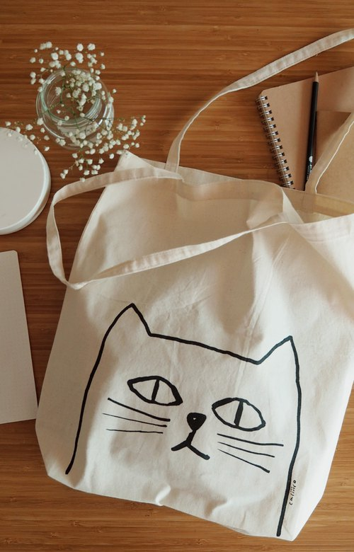 SMALL BAG HAND PRINT WITH White CAT.