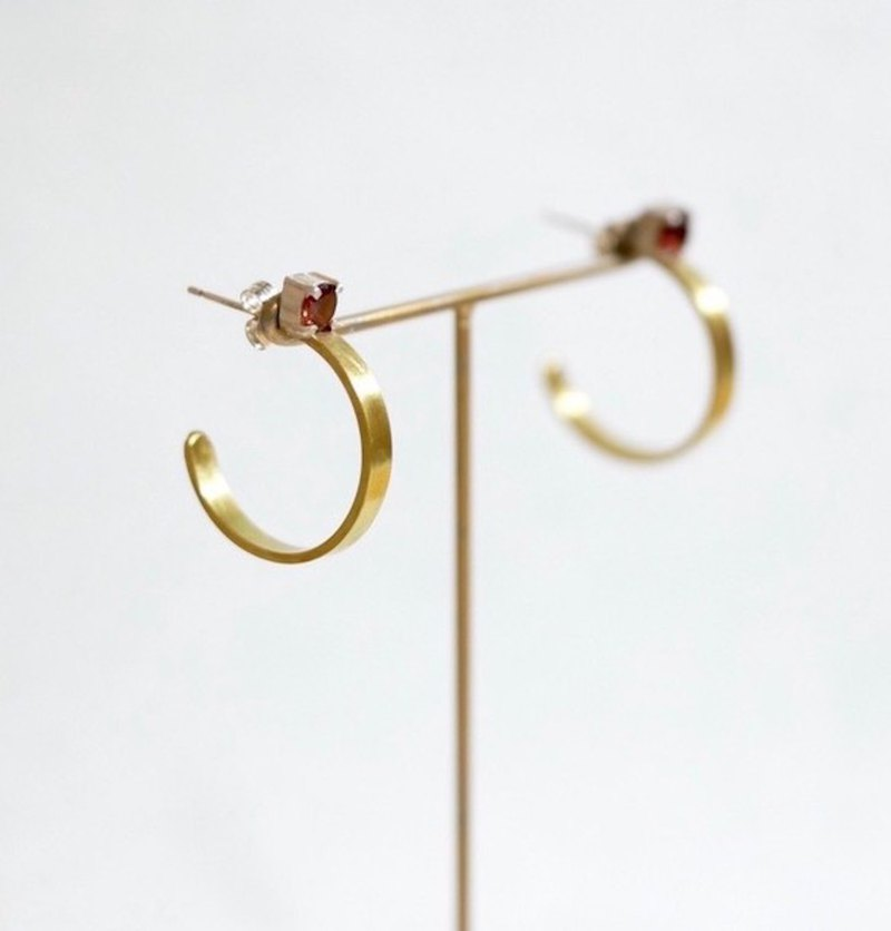 Brass×Sterling Silver Hoop Earrings S  Garnet