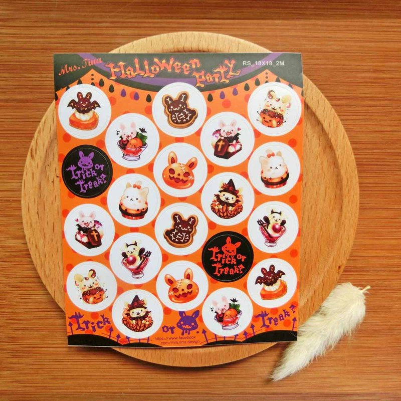 Small round sticker - Halloween rabbit