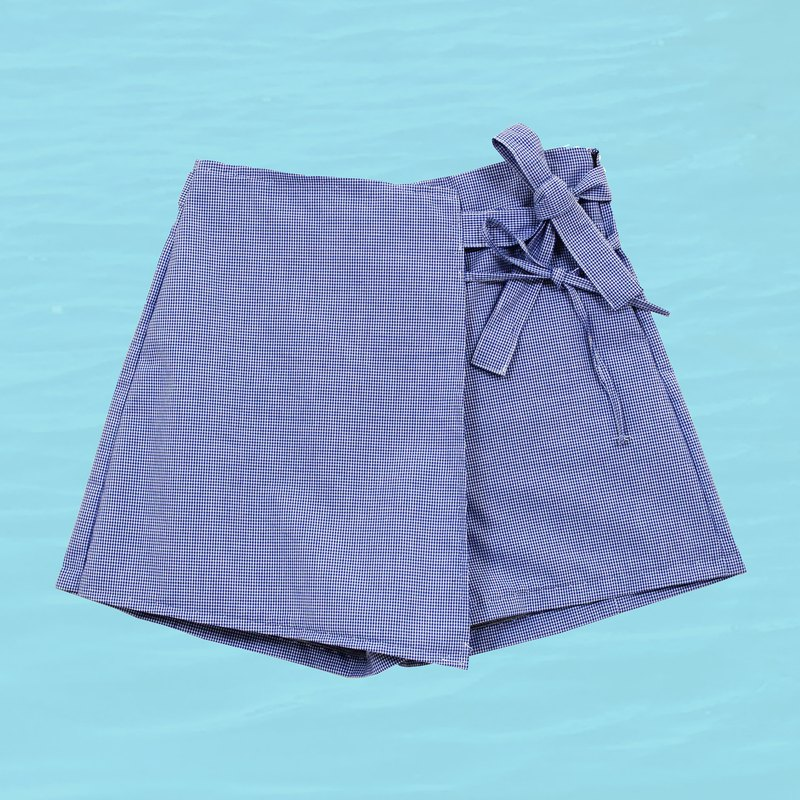 Fine Check Bandage Shorts - Blue