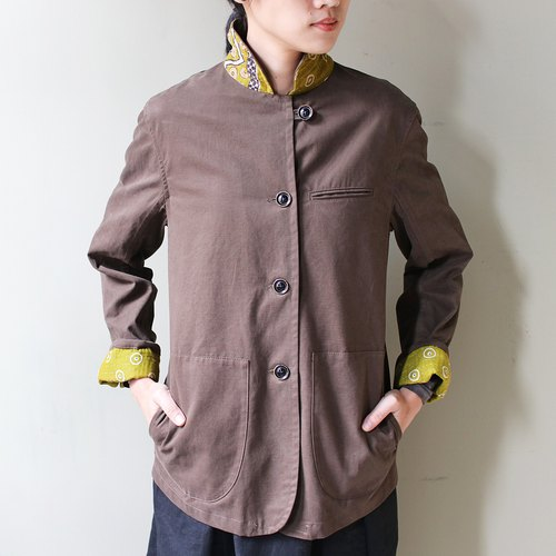Omake kanta jacket Indian cotton hand-embroidered collar jacket _ light brown
