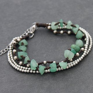 Jade Silver Chain Beads Stone Bracelets Adjustable Romantic