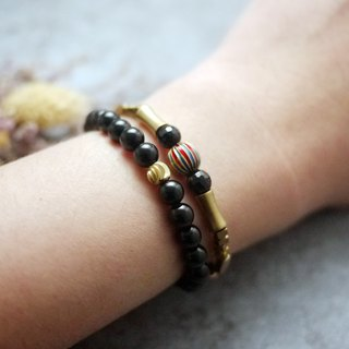 Natural stone bracelet - Cleopatra's talent (brass / accessories / gift / black agate / blue sand stone)