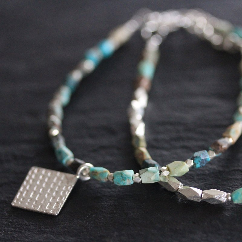 Turquoise and silver beads with handmade silver pendant (B0070)