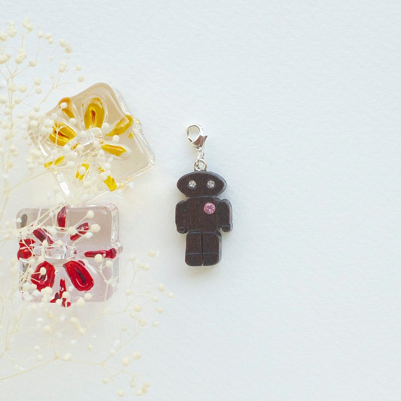 Robot wooden charm