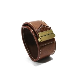 Brown leather wide version of the Play Hard bracelet - gold buckle