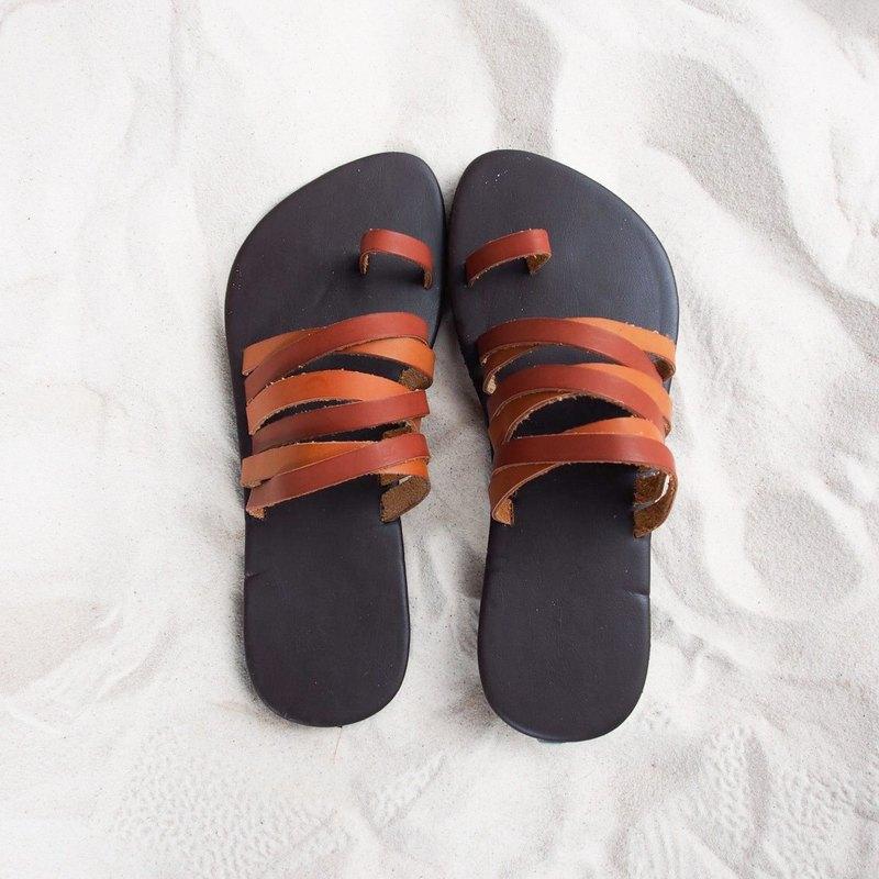 棕色皮革涼鞋拖鞋磨損波西米亞鞋酷酷的時尚