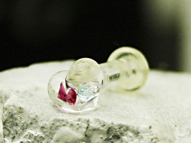 Heart glass body piercing: plug 8G (3 mm) Size